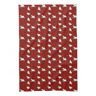 USA Themed Westie on red kitchen towel
