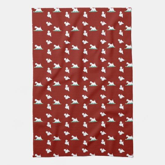 Red Kitchen Towels: Westie On Red Kitchen Towel