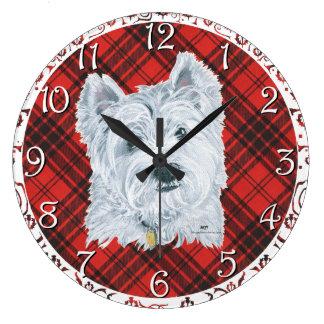 Westie on Tartan Large Clock