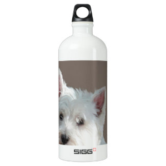 WESTIE ON TAUPE ALUMINUM WATER BOTTLE
