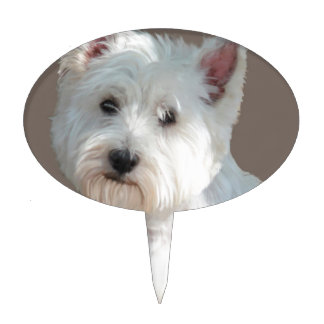 WESTIE ON TAUPE CAKE TOPPER