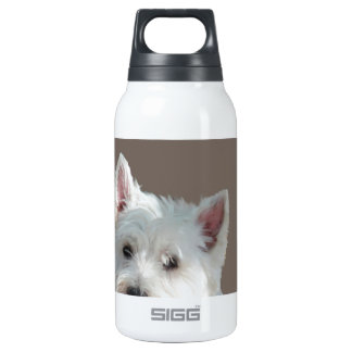 WESTIE ON TAUPE INSULATED WATER BOTTLE