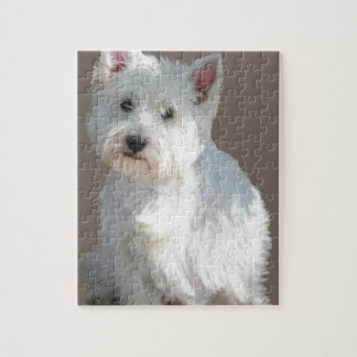WESTIE ON TAUPE JIGSAW PUZZLE