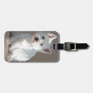 WESTIE ON TAUPE BAG TAG