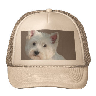 WESTIE ON TAUPE TRUCKER HAT