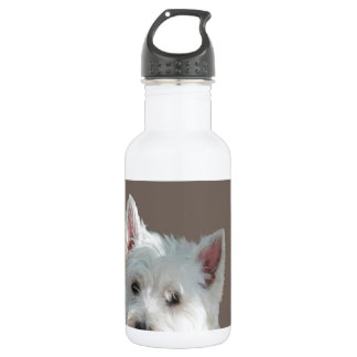 WESTIE ON TAUPE WATER BOTTLE