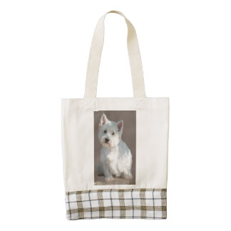 WESTIE ON TAUPE ZAZZLE HEART TOTE BAG