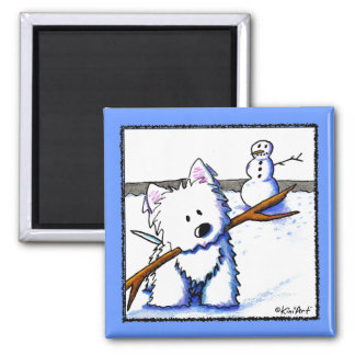Westie One-Arm Bandit 2 Inch Square Magnet
