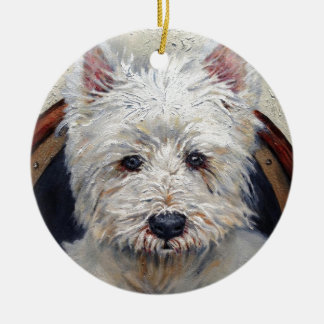 Westie Ornament with Paw Print on Back