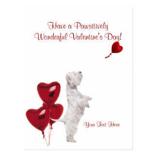 Westie Pawsitively Wonderful Valentine  Wishes #2 Postcard