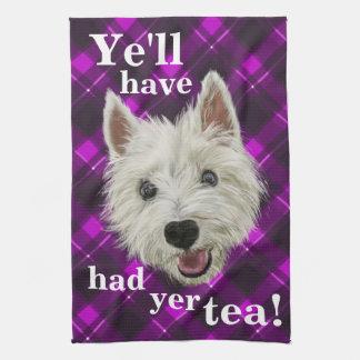 Westie pequenito. ¡YE habrá comido té del YER! Toallas De Cocina