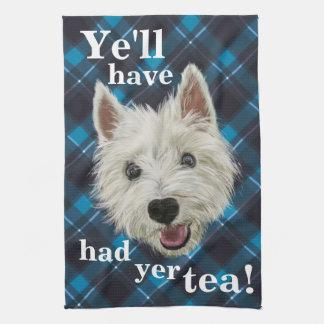 Westie pequenito. ¡YE habrá comido té del YER! Toalla De Cocina