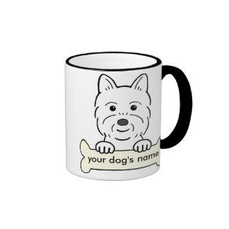 Westie personalizado taza de dos colores