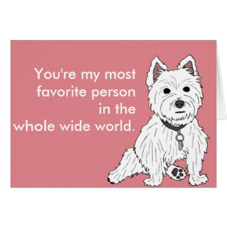Westie Pink Wuv You Valentine Card