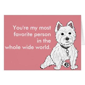 Westie Pink Wuv You Valentine Card