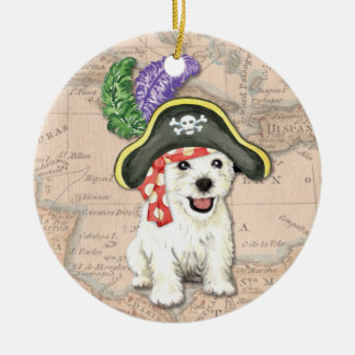 Westie Pirate Ceramic Ornament