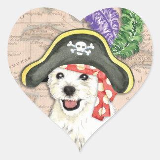 Westie Pirate Heart Sticker