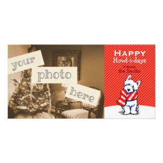 Westie Plaid Scarf Christmas Modern Red Customized Photo Card