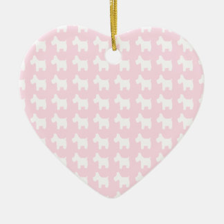 Westie Prints with Pink Background Ceramic Ornament
