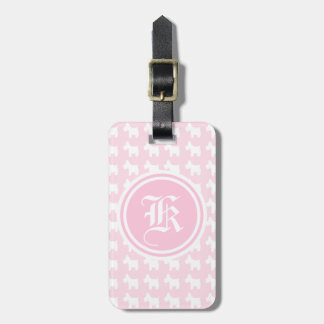Westie Prints with Pink Background Monogram Bag Tag