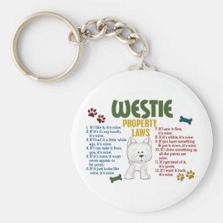 Westie Property Laws 4 Basic Round Button Keychain
