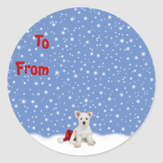 Westie Pup and Snow Christmas Sticky Labels