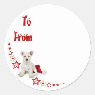 Westie Pup Christmas Sticky Label