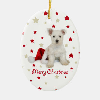 Westie Pup Oval Christmas Tree Ornament