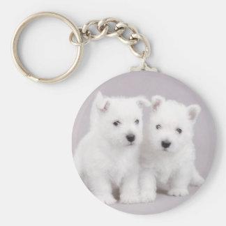 Westie puppies basic round button keychain