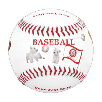 Westie Puppies - Play Ball Design - Baseball