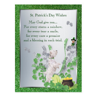Westie Puppy 2 St Pattys Day Spiritual Message Postcards