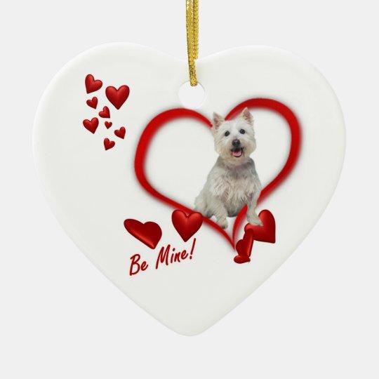 Westie Puppy Be Mine Valentine's Day Ornament