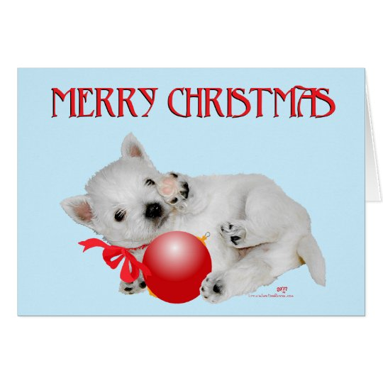 Westie Puppy Christmas Playtime Card