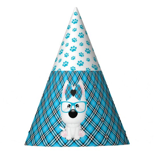 Westie Puppy Dogs Blue Aqua Birthday Party Hats