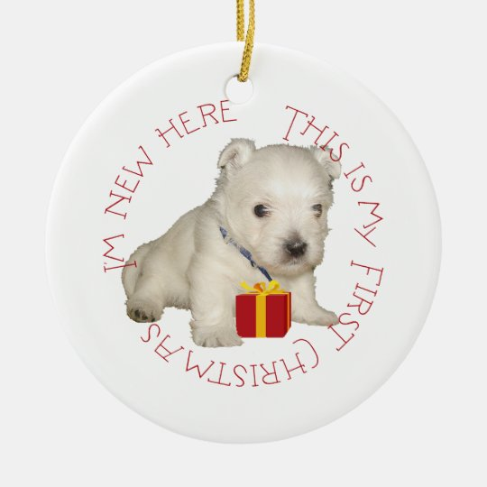 Westie Puppy First Christmas Ceramic Ornament