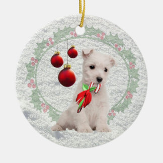 Westie Puppy Hugs & Kisses &Warm Christmas Wishes Double-Sided Ceramic Round Christmas Ornament