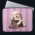 "Westie puppy in Handbag Laptop Sleeve<br><div class=""desc"">Adorable westie puppy in retro black and white handbag,  painted by artist Maryline Cazenave.</div>"