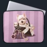 "Westie puppy in Handbag Laptop Sleeve<br><div class=""desc"">Adorable westie puppy in retro black and white handbag,  painted by artist Maryline Cazenave.</div>"