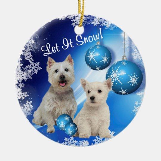 Westie Puppy Let It Snow! Ornament