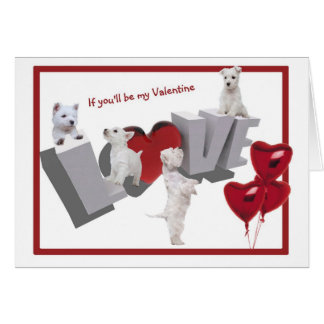 Westie Puppy Love Valentine's Day Card