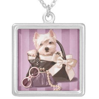 Westie puppy square pendant necklace