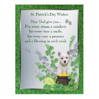 Westie Puppy One St Pattys Day Spiritual Message Postcard