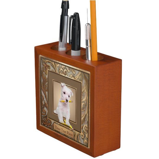 Westie Puppy Ornate Gold Filled Frame Design Pencil Holder