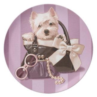 Westie puppy dinner plates