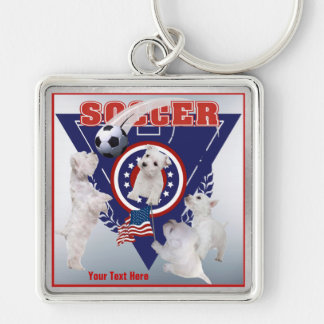 Westie Puppy US Flag Soccer Design – Customize It! Silver-Colored Square Keychain