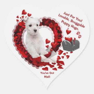 Westie Puppy You've Got Mail! Second Version Heart Sticker