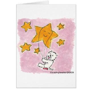 Westie que balancea en una estrella tarjeta de felicitación