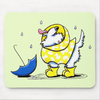 Westie Rainy Day Mouse Pads