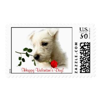 Westie Red Rose Valentine Stamp #3