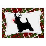 Westie Reindeer Christmas Card